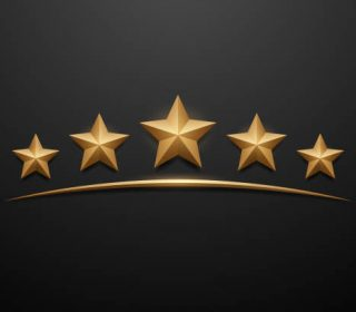 Five gold stars on black background in vector