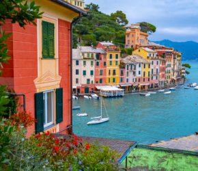 Beautiful landscape view of Portofino famous landmark at Italy.