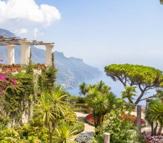 Amazing gardens of the villa Rufolo on Amalfi coast, Ravello, Italy