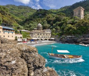Abbey founded by the Order of Saint Benedict in San Fruttuoso Bay in the Italian Riviera between Camogli and Portofino, Italy
