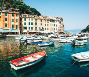 The trendy Italian fishing village on a sunny day - Italian Riviera