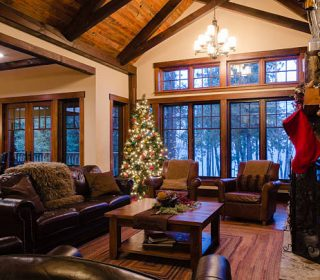 Luxurious cottage decorated for the Christmas season