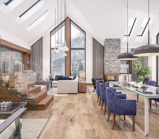 3D rendering of living room, kitchen and dining room and stair are combined in one area of chalet. The interior is decorated with wood and natural materials.
