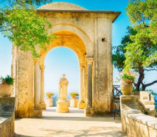 beautiful details of Ravello village at summer, Amalfi coast of Italy, toned
