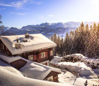 beautiful snowoy winter landscape in swiss mountains